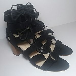 MARC FISHER BLACK SUEDE STRAPY SANDALS SIZE 7M